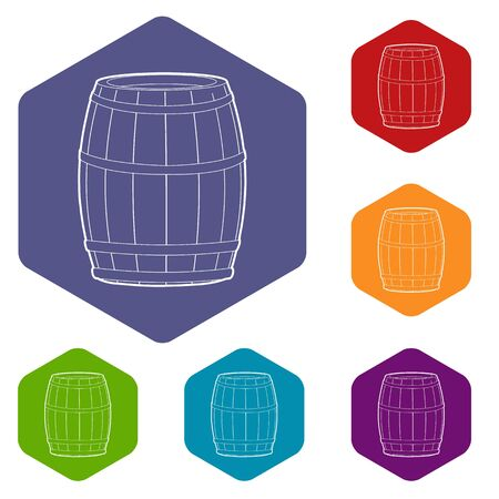 Wine barrel icon, outline style