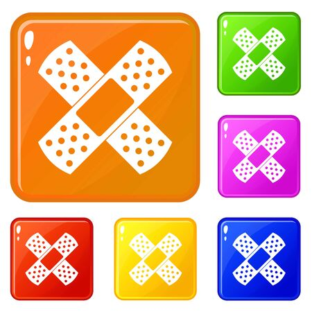 Patch icons set vector color Stock Illustratie