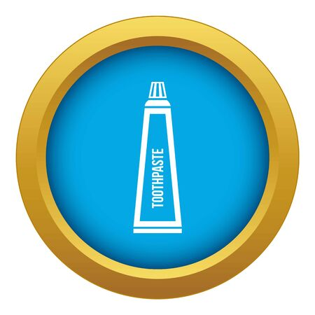 Toothpaste in tube icon blue vector isolated on white background for any design