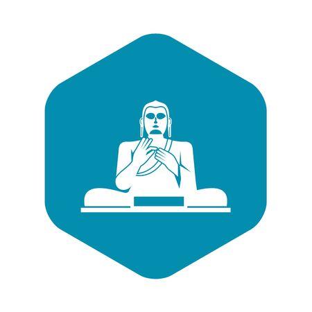 Buddha statue icon, simple style