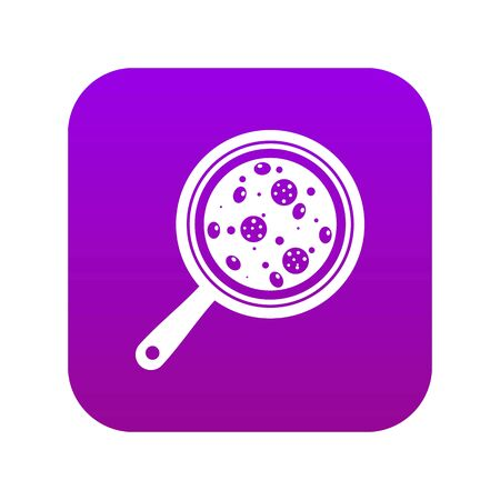 Pizza with ingredients on board icon digital purple Vettoriali
