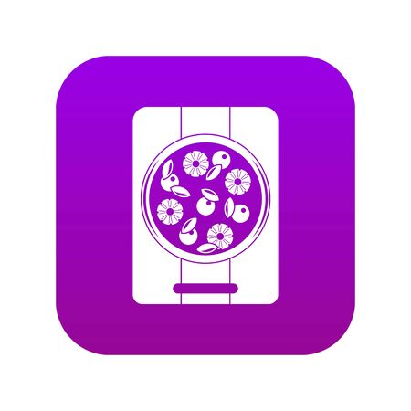 Pizza with pineapple and basil on board icon digital purple for any design isolated on white vector illustration
