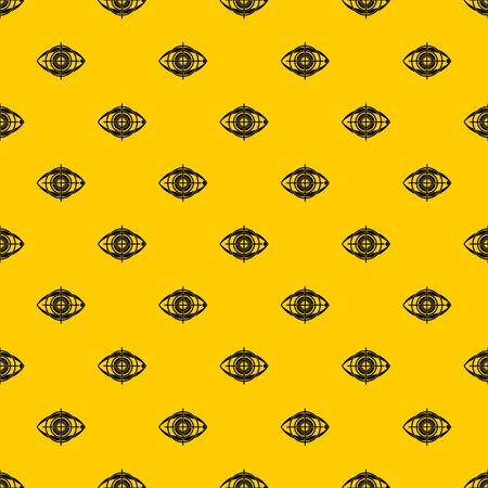 Eye and target pattern seamless vector repeat geometric yellow for any design