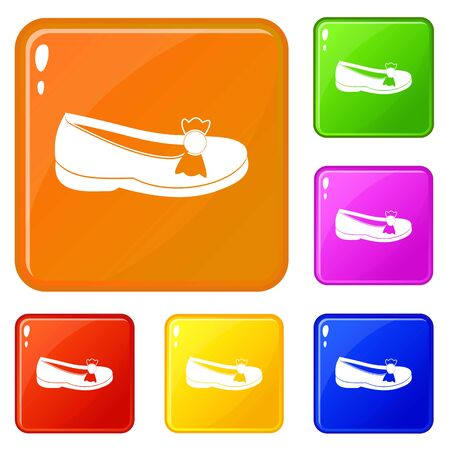 Shoe icons set vector color