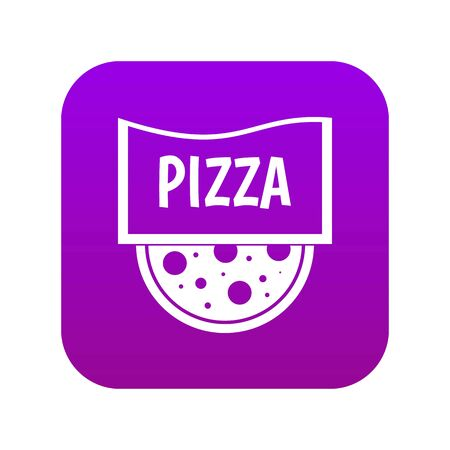 Pizza badge or signboard icon digital purple
