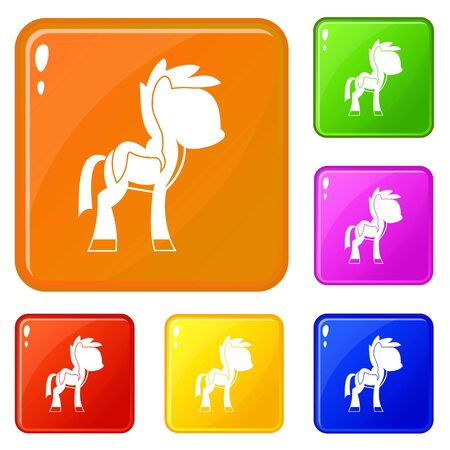 Little pony icons set vector color Illustration