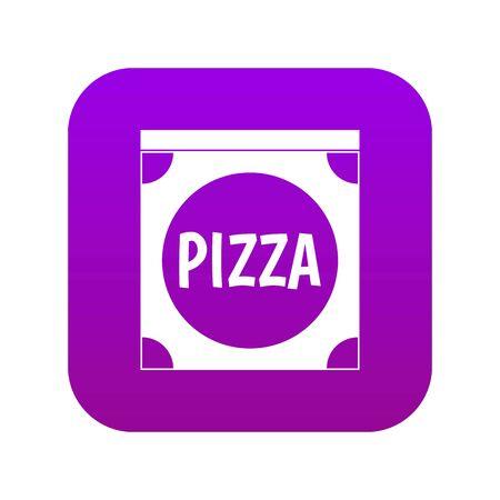 Pizza box cover icon digital purple Illustration