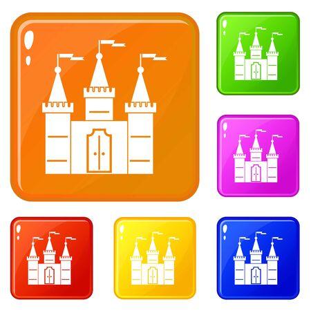 Castle icons set vector color Foto de archivo - 128218315