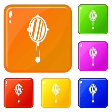 Hand mirror icons set vector color
