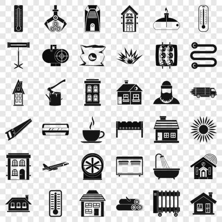 Battery icons set, simple style Vektoros illusztráció