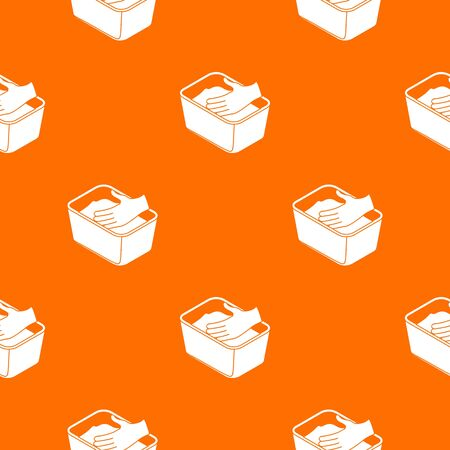 Hand washing clothes pattern vector orange