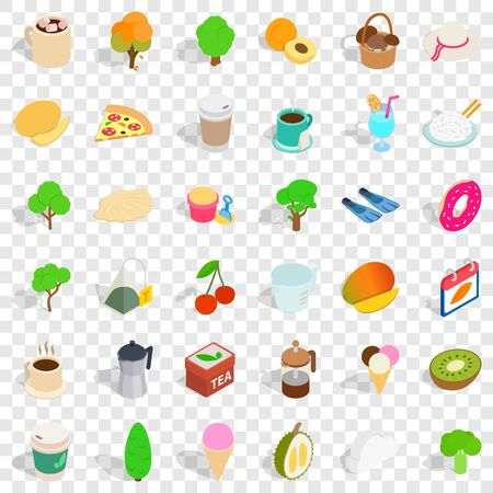 Berry icons set, isometric style Illustration