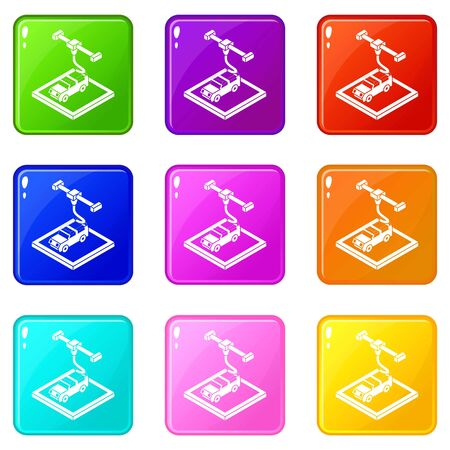 Car d printing icons set 9 color collection