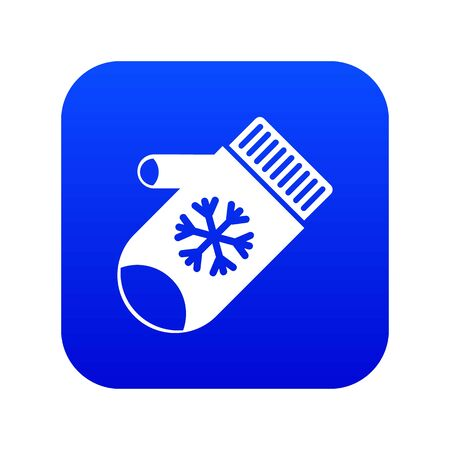 Mitten with snowflake icon digital blue