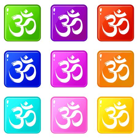 Om symbol hinduism icons set 9 color collection