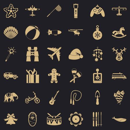 Toy icons set, simple style Stock Photo