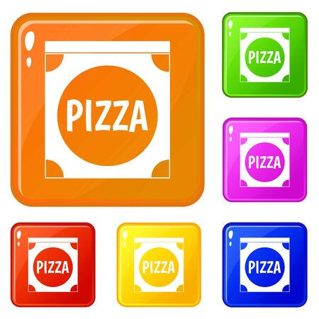 Pizza box cover icons set color