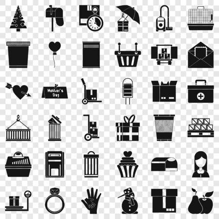 Carton box icons set, simple style