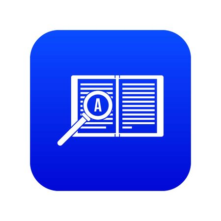 Magnifying glass over open book icon digital blue