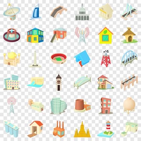 Big building icons set, cartoon style Foto de archivo - 127754174