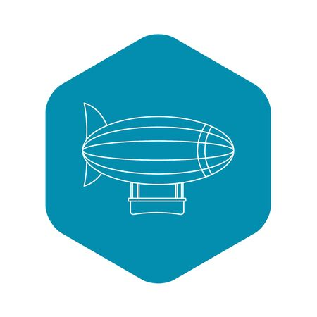 Blimp aircraft flying icon, outline style