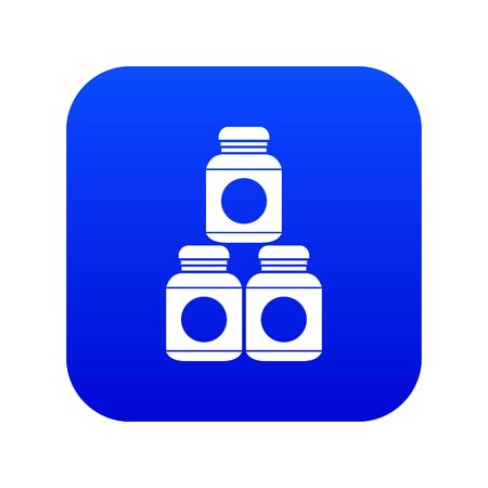 Sport nutrition containers icon digital blue 免版税图像