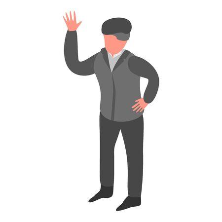 Senior man hand up icon, isometric style