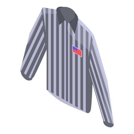 Referee striped shirt icon, isometric style