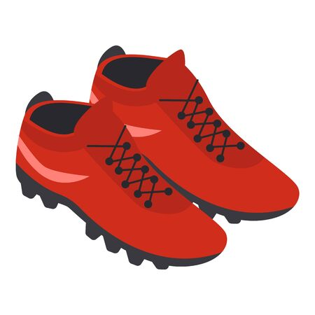 Football red shoes icon, isometric style