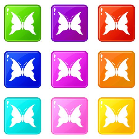 Big butterfly icons set 9 color collection isolated on white for any design Ilustracja