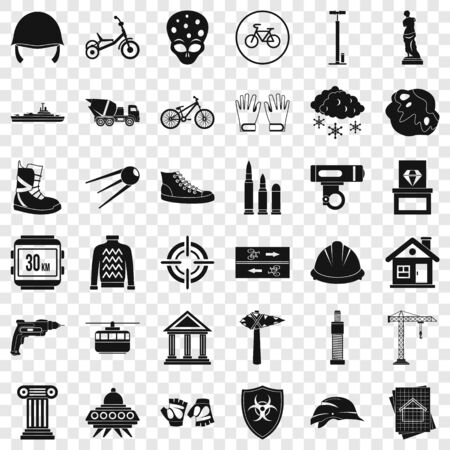 Project icons set, simple style