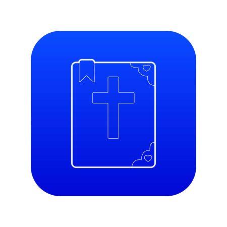 Bible icon blue vector