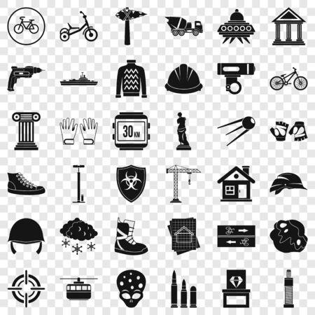 Helmet icons set, simple style Ilustração