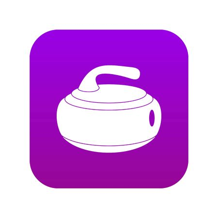 Curling stone icon digital purple for any design isolated on white vector illustration Çizim