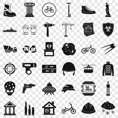 Truck icons set, simple style Banco de Imagens - 127761961