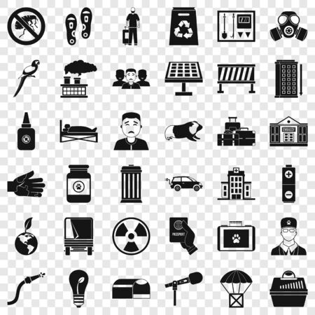 Help icons set, simple style Stock Illustratie