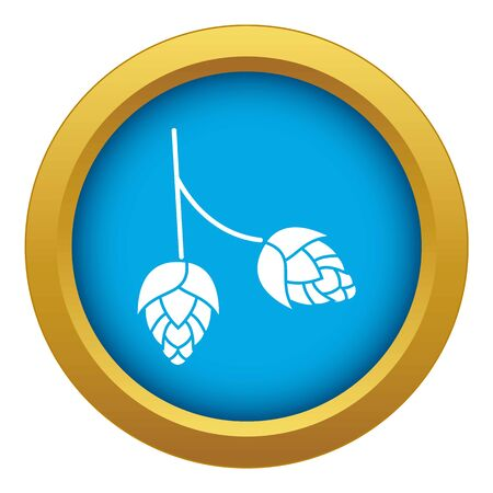 Branch of hops icon blue vector isolated on white background for any design Ilustrace