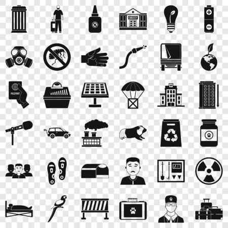 Veterinary icons set, simple style Stock Illustratie