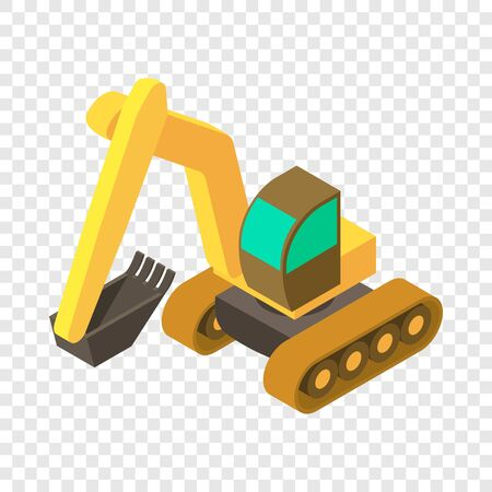 Excavator icon. Isometric illustration of excavator vector icon for web