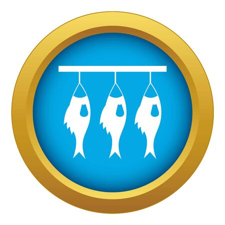 Three dried fish hanging on a rope icon blue vector isolated on white background for any design