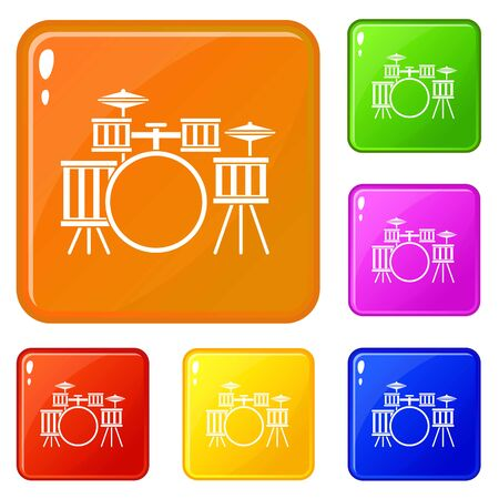 Drum kit icons set collection vector 6 color isolated on white background