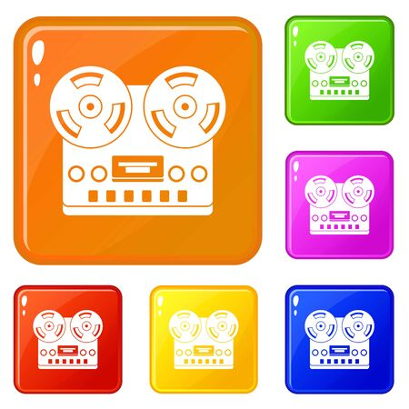 Retro tape recorder icons set collection vector 6 color isolated on white background Ilustração