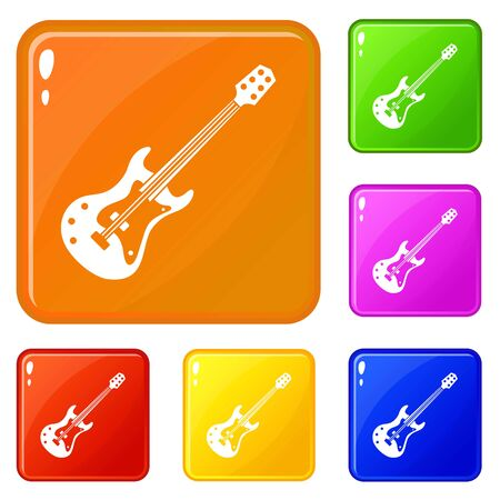 Classical electric guitar icons set collection vector 6 color isolated on white background