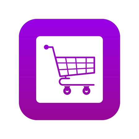 Shopping cart icon digital purple for any design isolated on white vector illustration