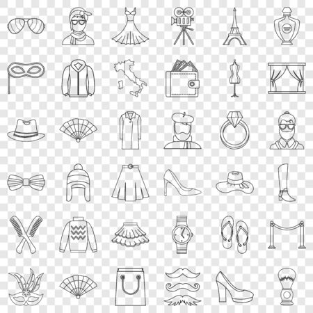 Mode icons set, outline style