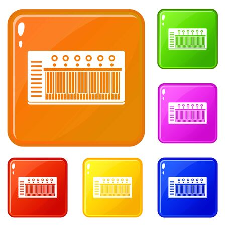 Electronic synth icons set collection vector 6 color isolated on white background