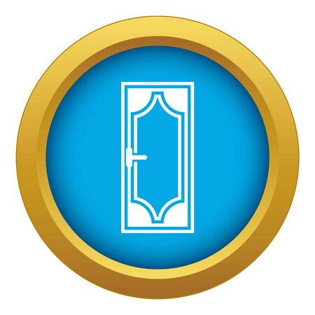 Wooden door with glass icon blue vector isolated