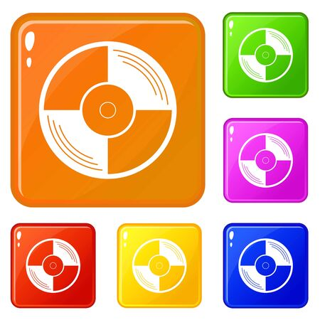 Vinyl record icons set collection vector 6 color isolated on white background