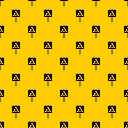 Pedestrian sign pattern seamless vector repeat geometric yellow for any design