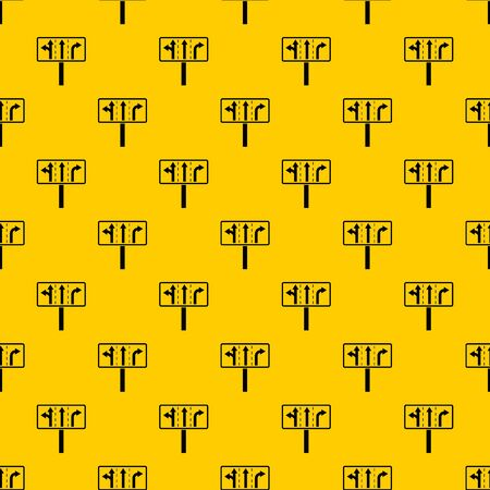 Traffic lanes at crossroads junction pattern seamless vector repeat geometric yellow for any design Ilustração